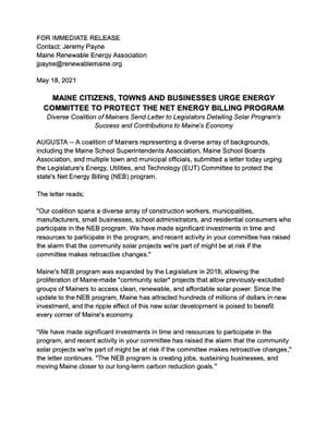 Costs and Benefits of Maine's Net Energy Billing Program