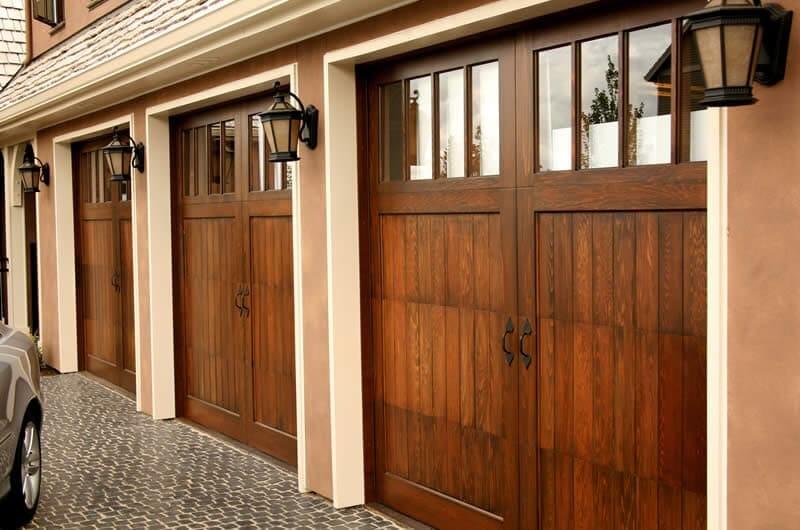 Custom wood carriage garage door