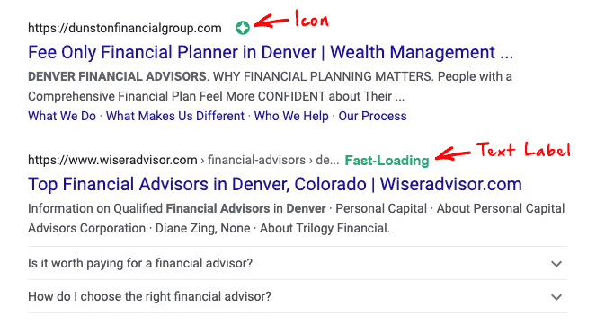 Possible Google page experience labels or icons