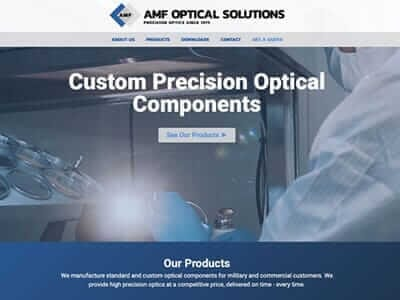 AMF Optics website screenshot thumbnail