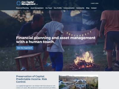 Cox Capital website screenshot thumbnail