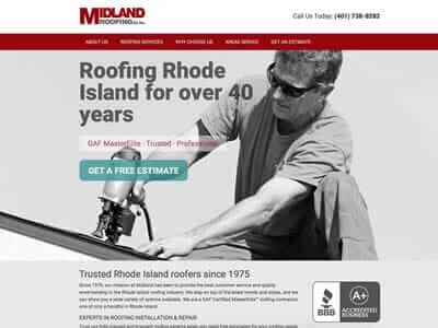 Midland Roofing website screenshot thumbnail