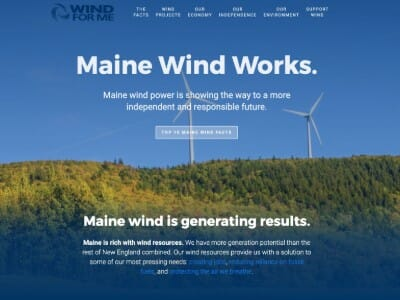 Wind For Maine website screenshot thumbnail