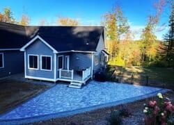 Corner patio installation on New Hampshire home