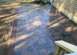 Beautiful new brown cobblestone landing