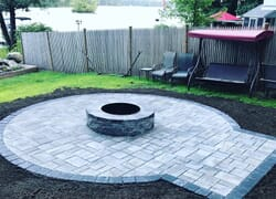 New stone firepit with surround