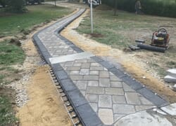 Long stone walkway with steps