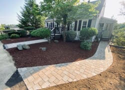 Home with two new beautiful stone walkways