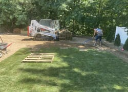 Installation of a sod lawn