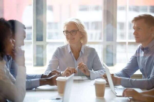 Female executive running meeting