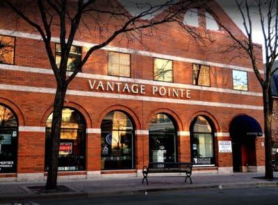 Brick exterior of Vantage Pointe building